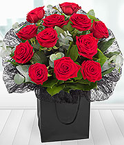 Aqua Bouquet of a Dozen Best Red Roses