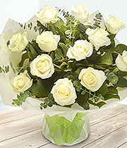 Aqua Bouquet of a Dozen White Roses